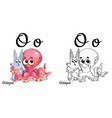 octopus alphabet letter o coloring page vector image vector image