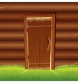 Old Door on Wooden Log Wall Log House Facade vector image vector image