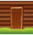 old door on wooden log wall log house facade vector image vector image