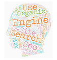 Organic SEO text background wordcloud concept vector image vector image