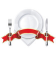 plate with ribbon spoon knife and fork vector image vector image
