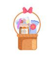 present basket full gifts birthday xmas vector image vector image