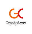 red orange circular initial letter g and c vector image vector image
