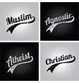 religious ignorance believe grungy text varsity vector image vector image