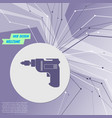 screwdriver power drill icon on purple abstract vector image