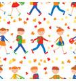seamless background of cheerful school children vector image