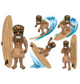 set cartoon tiki mask play surfing collection vector image vector image