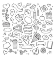 set love doodle icons vector image