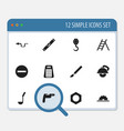 set of 12 editable apparatus icons includes vector image