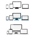 set realistic monitors laptop tablet and phone vector image vector image