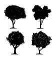 silhouette tree set on white background and icon vector image vector image