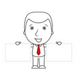 smiling businessman line of businessman holding tw vector image vector image