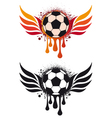soccer ball with fire wing vector image vector image