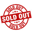 sold out round red grunge stamp vector image vector image