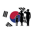 South Korea soldier family salute vector image vector image