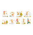 sportive active woman performing sport workouts vector image vector image