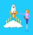 startup idea of businesswoman business launching vector image vector image