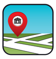 Street map icon with the pointer bank vector image vector image