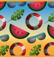 summer background watermelon lifebuoy vector image