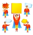 Superhero cartoon character with speech bubbles vector image