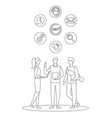 support office web call center people line vector image
