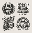 vintage monochrome craft beer badges vector image