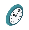 Wall clock with blue rim icon isometric 3d style vector image