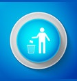 white trash can icon isolated garbage bin sign vector image vector image