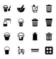 16 bucket icons vector image vector image