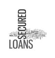 a brief about secured loans text word cloud vector image vector image