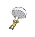 American Paratrooper Parachute Cartoon vector image