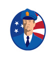 american police officer policeman flag vector image vector image