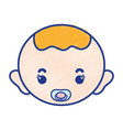 baby boy head with pacifier and hairstyle vector image vector image