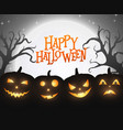 banner cartoon halloween pumpkins on black backgro vector image