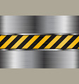 brushed metal texture with black yellow stripes vector image
