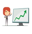 Business woman showing a chart business growth vector image