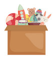 carton box with toys icons square frame and vector image vector image