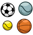 cartoon sports ball icon set vector image vector image