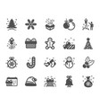 christmas icons set of santa hat gingerbread man vector image