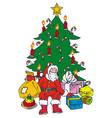 christmastree and santa vector image vector image