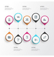 construction icons line style set with glass frame vector image