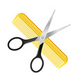 crossed scissors and comb isolated on white vector image