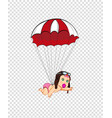 cute cartoon baby girl in pilot hat flying with vector image