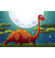 Dinosaur in the field at night vector image vector image