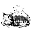 double exposure silhouette fox and forest vector image vector image