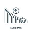 euro rate decrease graphic icon mobile app vector image
