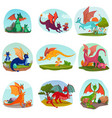 fairy dragon kids set vector image vector image