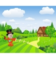 Farm landscape with cartoon scarecrow vector image vector image