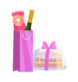 gift bag with bottle wine and cake present vector image vector image