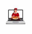 girl fast food worker giving food from laptop vector image vector image